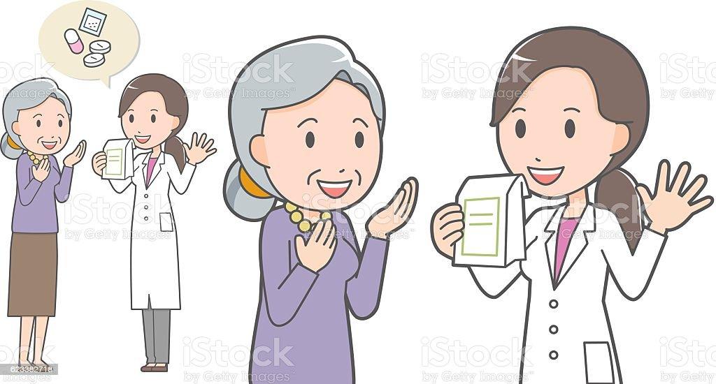Female pharmacist and old woman vector art illustration