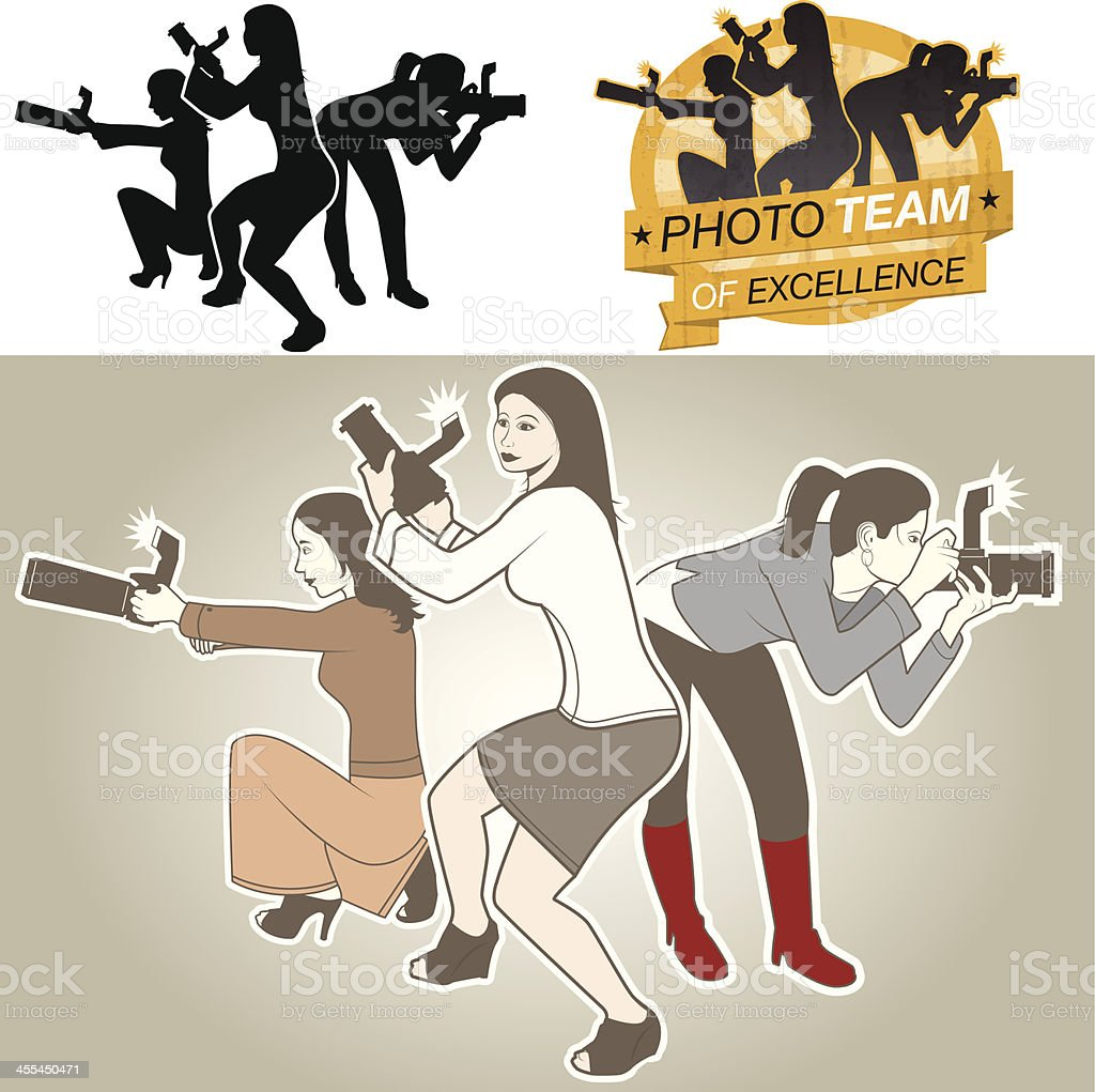 Female Photo Action Team royalty-free female photo action team stock vector art & more images of back lit