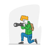istock Female Photographer or Tourist with Backpack and Photo Camera Making Picture. Creative Hobby, Woman Traveling, Paparazzi 1284621835