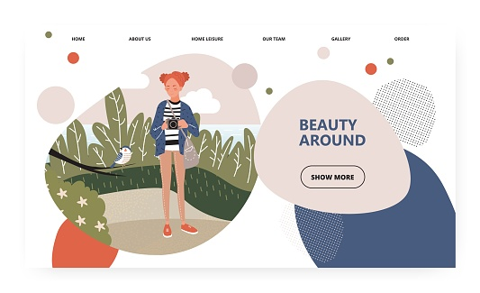 Female photographer takes picture on the nature. Birdwatching concept illustration. Bird photo. Vector web site design template. Landing page website illustration.