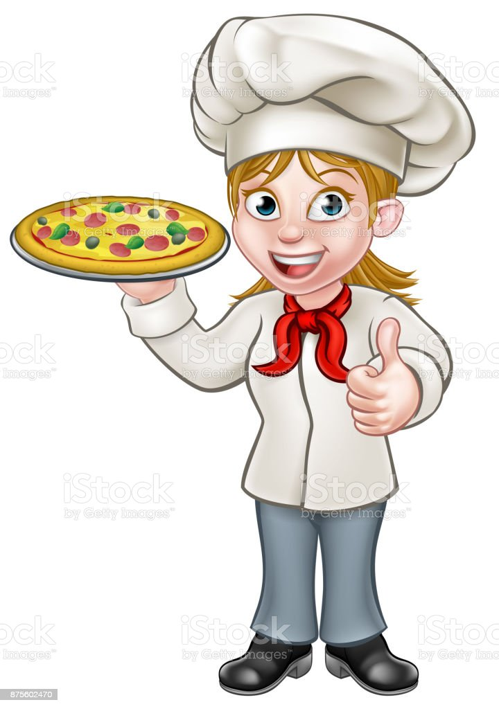 Female Pizza Chef Cartoon Character Stock Illustration ...
