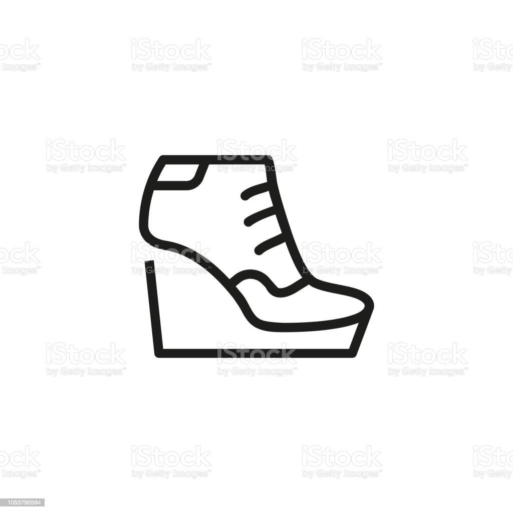 3d8caa4989cef Ícone de linha de calçados femininos plataforma ilustração de Ícone de linha  de calçados femininos plataforma