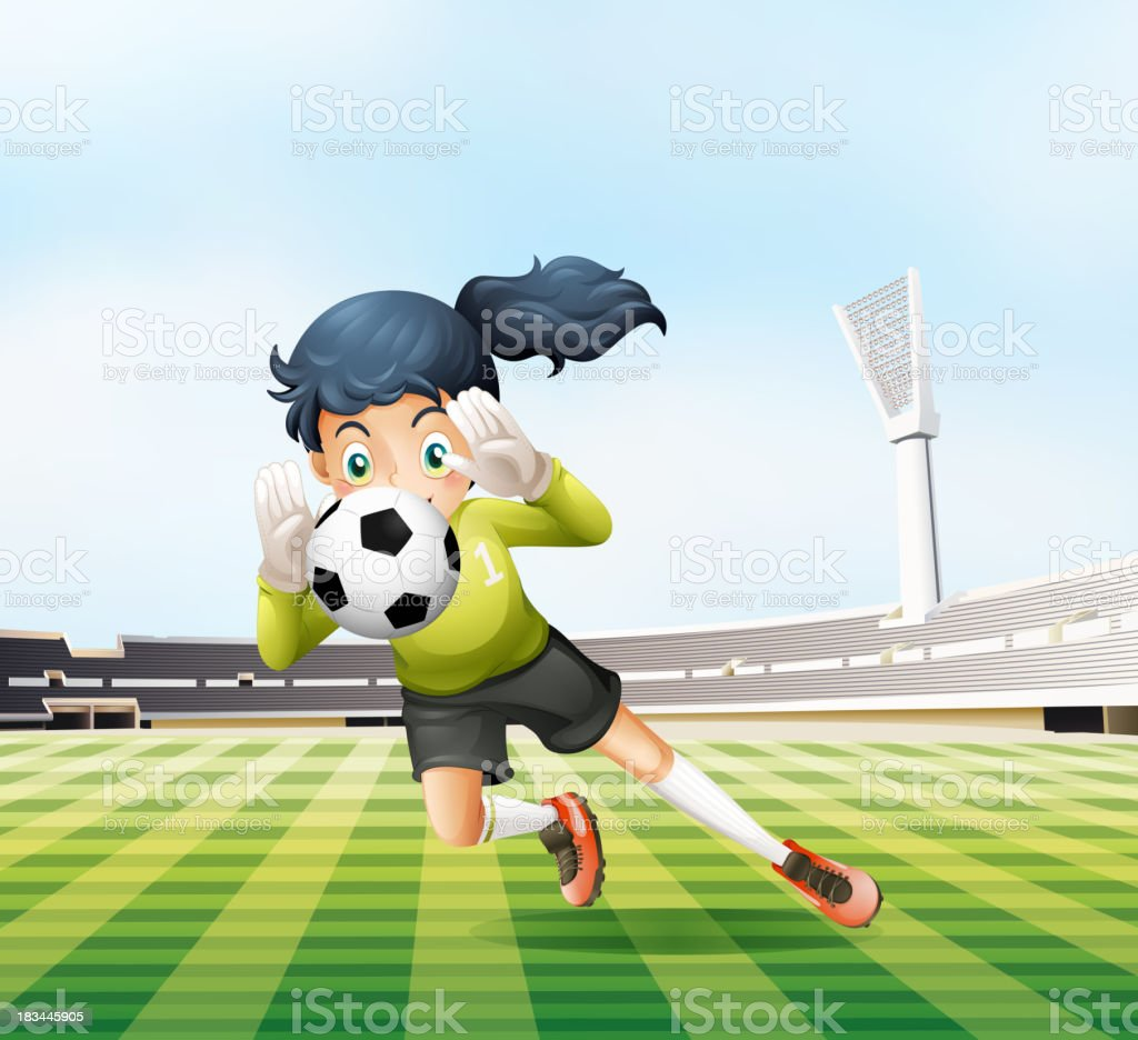 female player catching the soccer ball royalty-free female player catching the soccer ball stock vector art & more images of adult