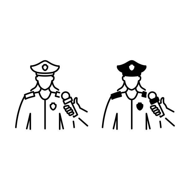 Female policeman interview outline and glyph icons Female policeman interview outline and glyph icons police interview stock illustrations