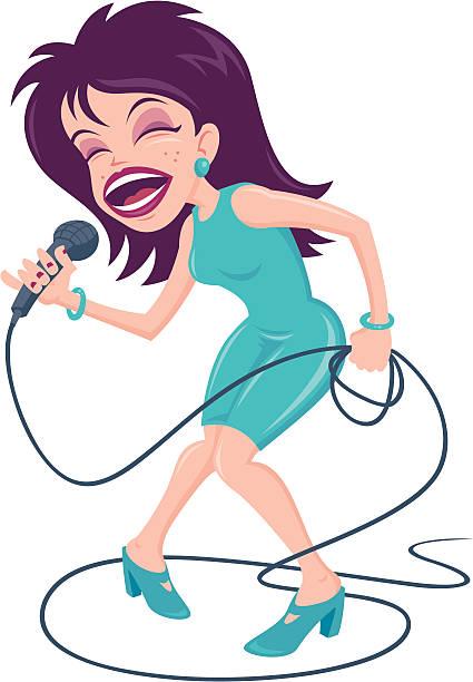 Female Pop Singer vector art illustration
