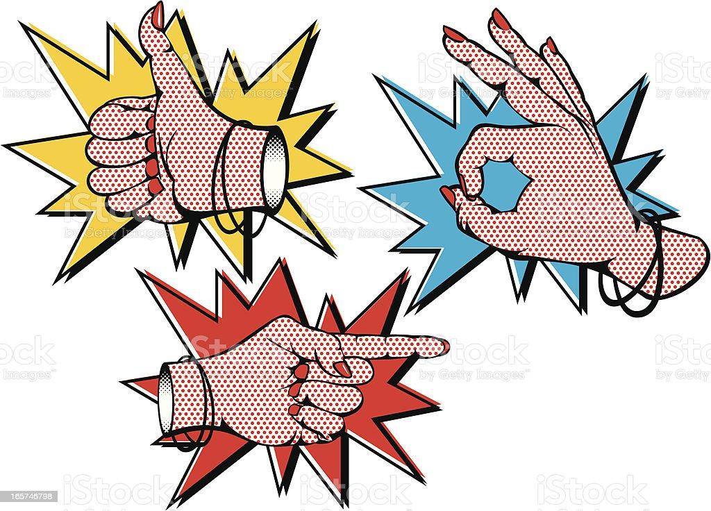 Female PopArt Hands vector art illustration