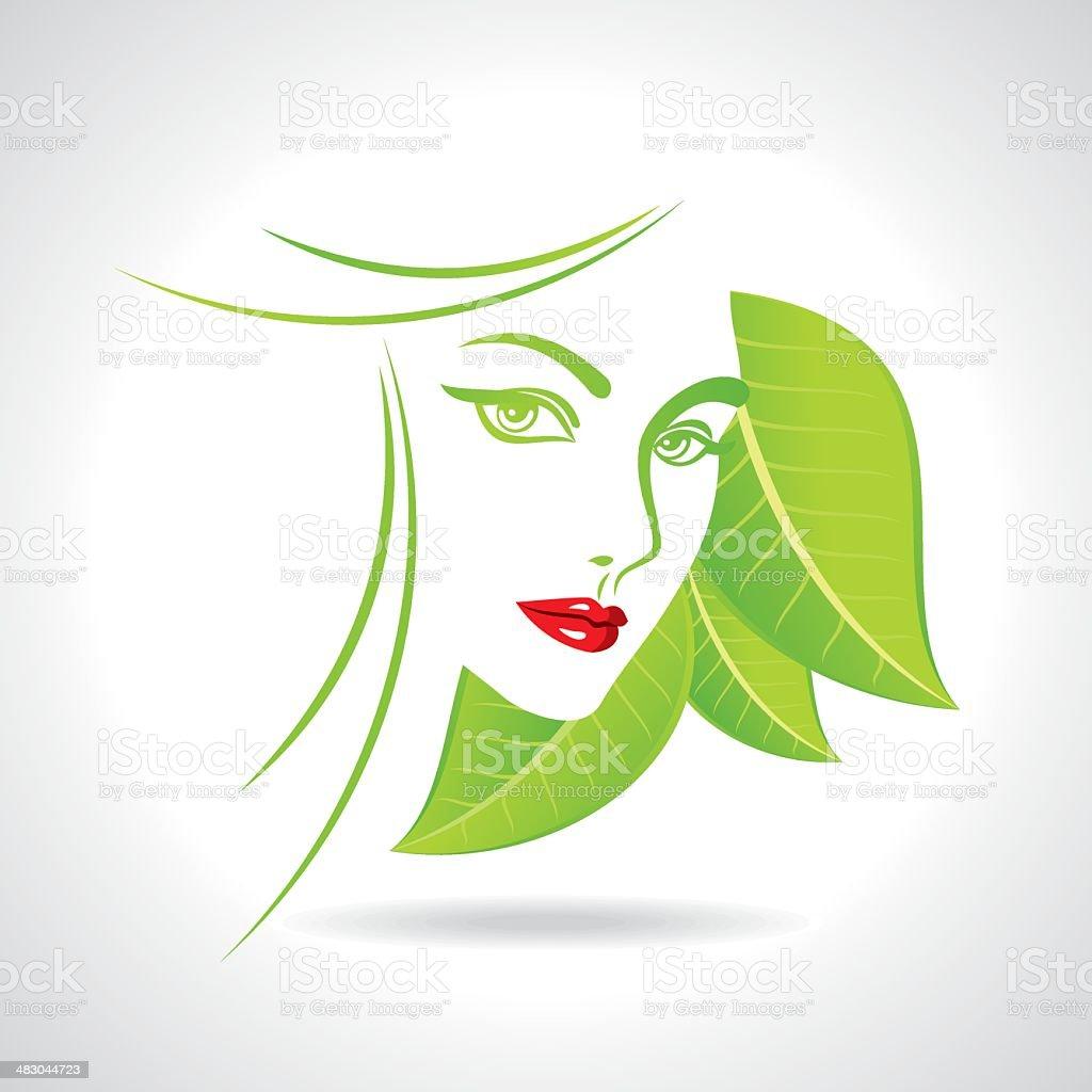 Female portrait - Illustration vector art illustration