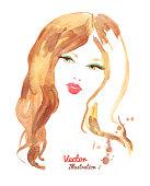 Female portrait. Watercolor fashion illustration. Vector EPS 10.