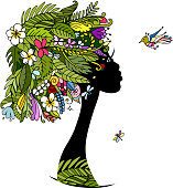 Female portrait with tropical hairstyle for your design
