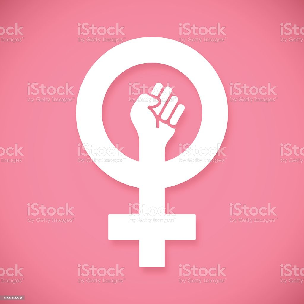 Female Power Raised Fist vector art illustration