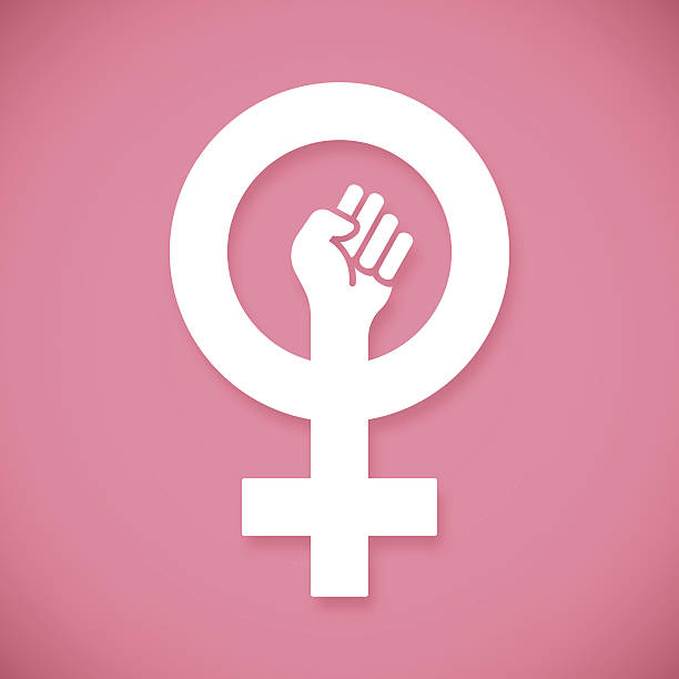 female power raised fist - autorytet stock illustrations