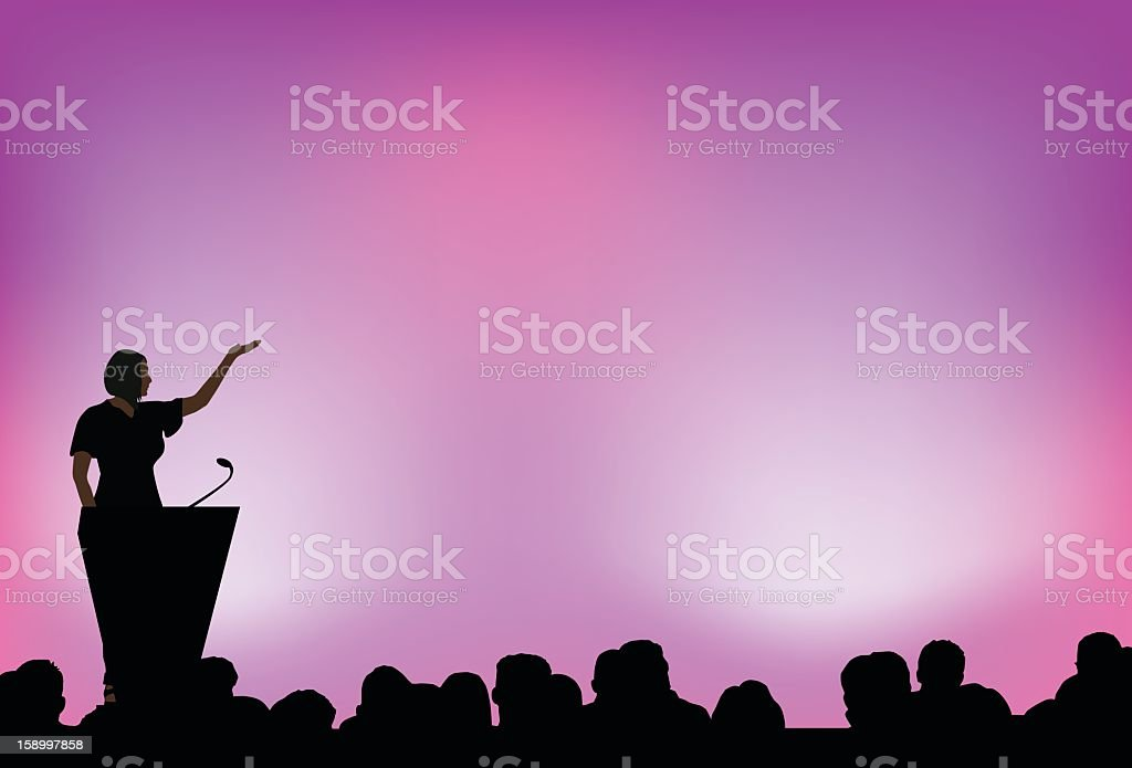 A female presenting to an audience in front of purple lights vector art illustration