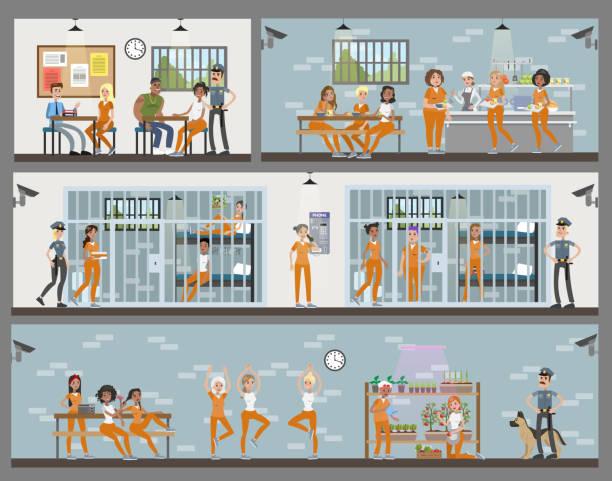 illustrations, cliparts, dessins animés et icônes de intérieur de prison pour femmes sertie de chambres et de la cantine. - prison