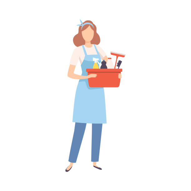 illustrazioni stock, clip art, cartoni animati e icone di tendenza di female professional cleaner standing with basket of detergents, cleaning company staff character dressed in uniform with equipment flat vector illustration - cameriera