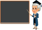Vector of female professor at blackboard ready to display your custom text. Professor and blackboard on separate layers.