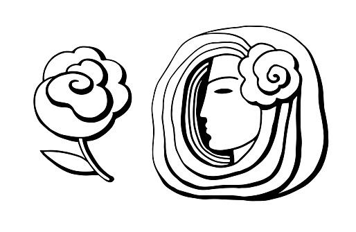 Female profile in doodle style. International Women's Day. Feminism concept design. Vector illustration for card; poster; modern design.