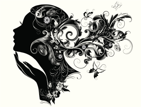 Female profile portrait illustration with nature in her hair