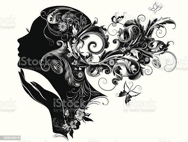 Female profile portrait illustration with nature in her hair vector id165645618?b=1&k=6&m=165645618&s=612x612&h=ue27j3jmsqzw6 te asyifdo vdgz  gh oh2qculda=
