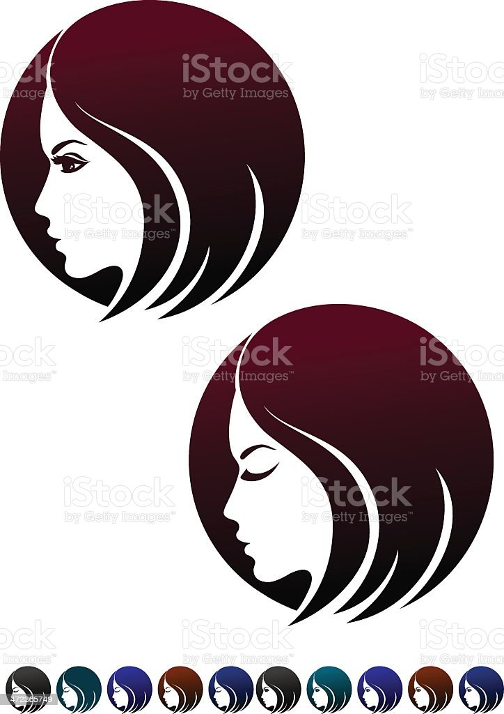 Female Profile Symbol Of Hairstyles Stock Vector Art More Images