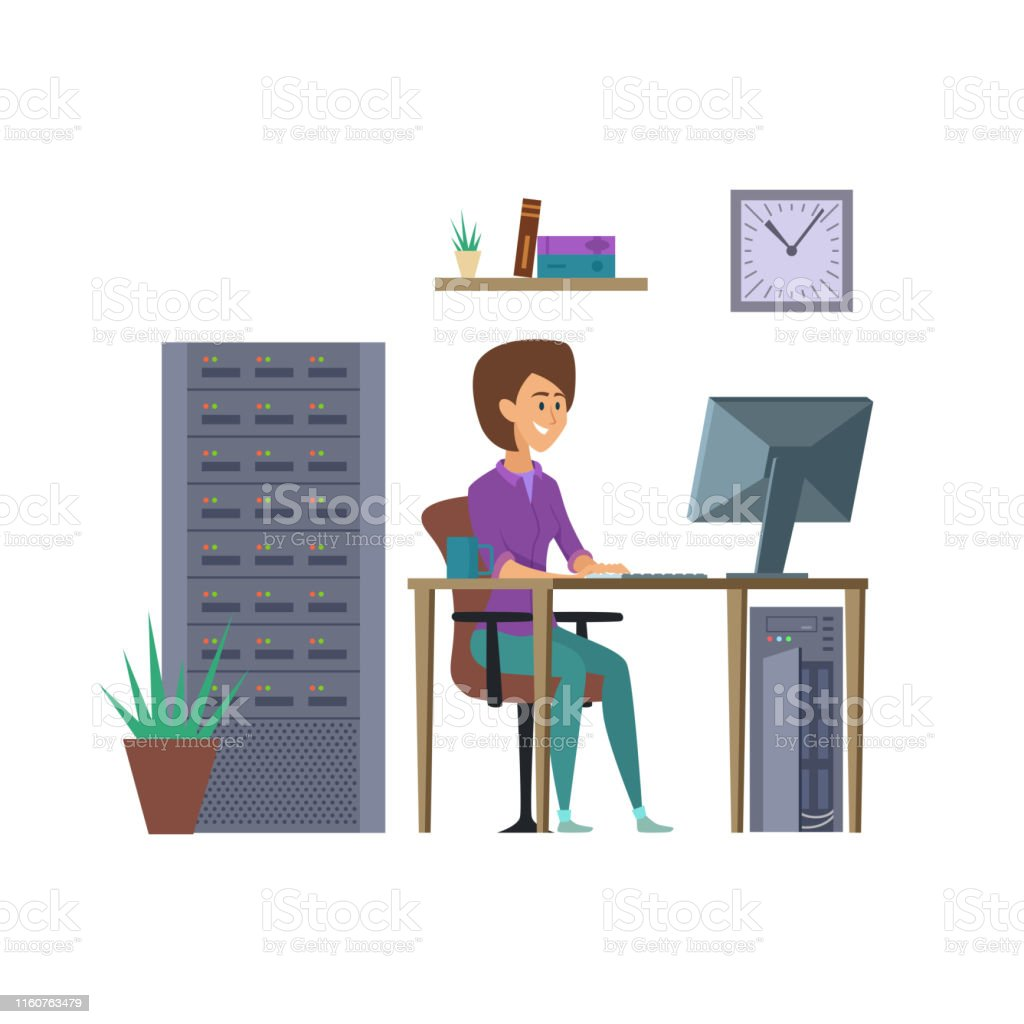 Female programmer vector. IT developer character with computer...