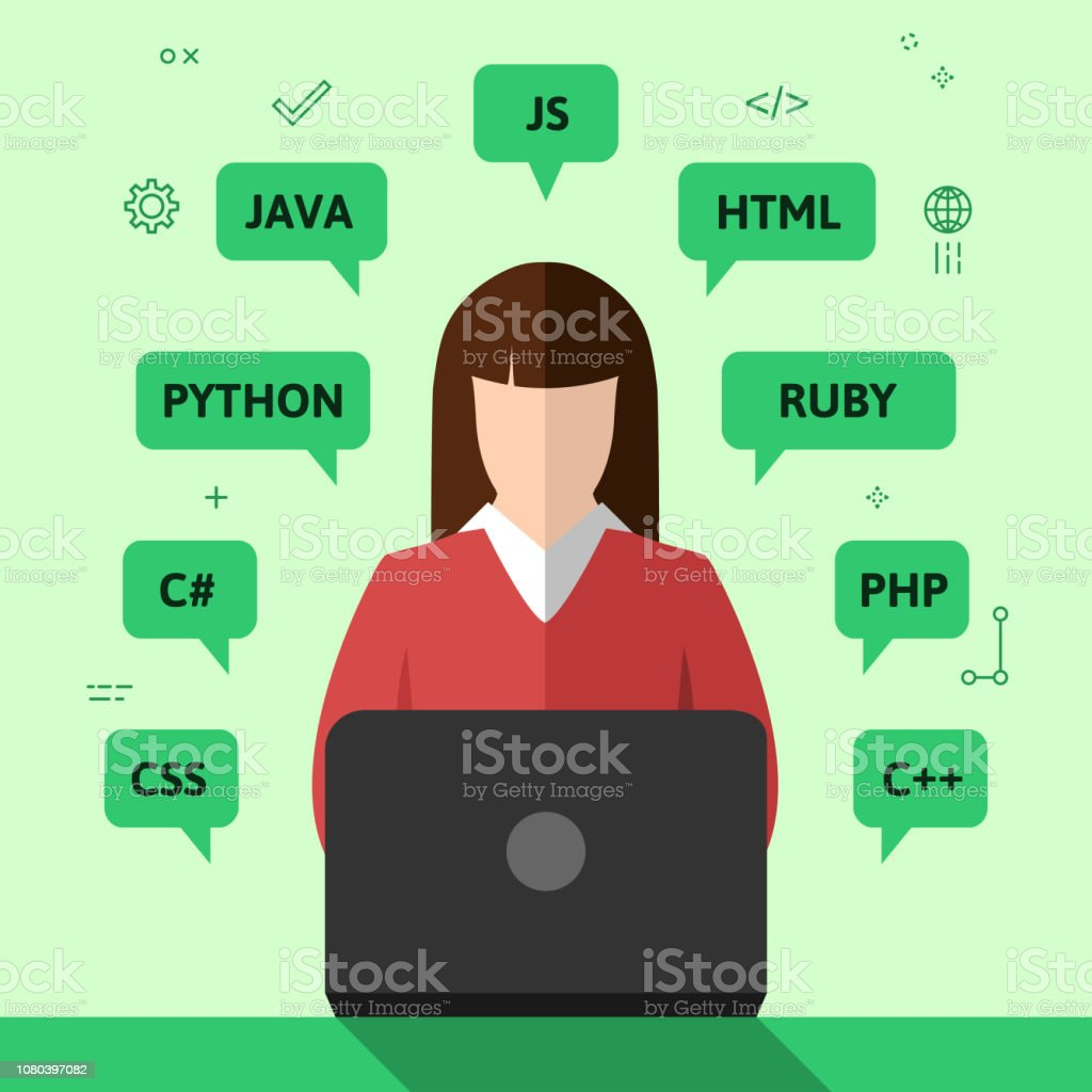 Female programmer working on computer. Programming, coding and...