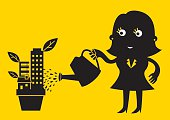 "Flat style cartoon: A female investor is smiling & watering her ""properties plant""."
