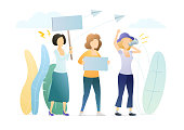 Female protesters on parade flat illustration.