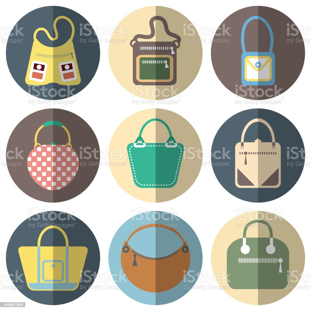 5dd4e75d163 Female Purse Flat Icon Set With Shadow App Or Web Colourful Isolated ...