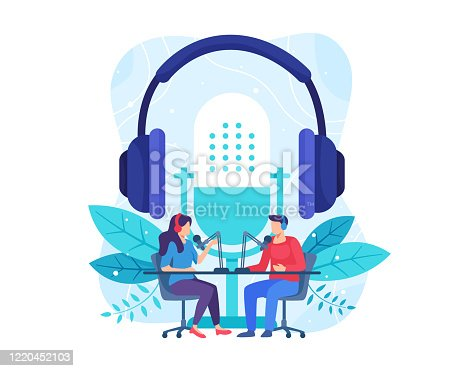istock Female radio host interviewing guests on radio station 1220452103