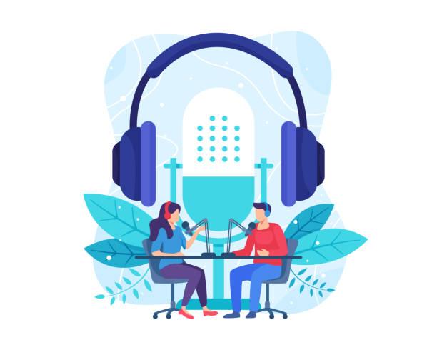 stockillustraties, clipart, cartoons en iconen met vrouwelijke radiogastheer die gasten op radiopost interviewt - podcast