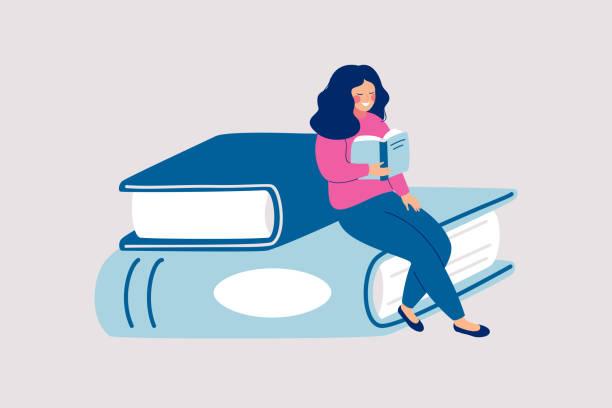 bildbanksillustrationer, clip art samt tecknat material och ikoner med kvinnlig läsare sitter på högen av gigantiska böcker och läser - reading a book