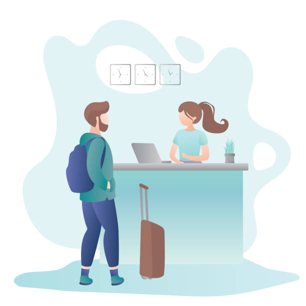 female receptionist on reception desk in hotel and male tourist with suitcase and backpack - hotel reception stock illustrations