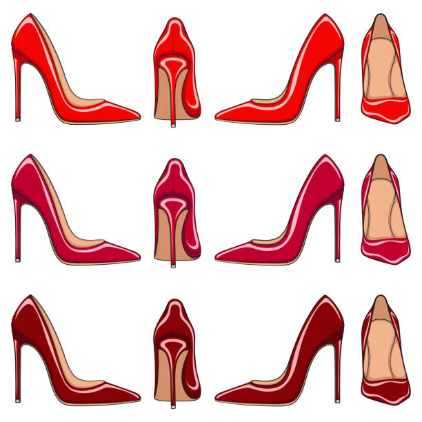 female red classic shoes with heels. set of vector color illustrations. - wysokie obcasy stock illustrations