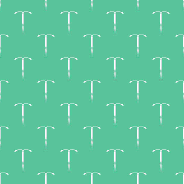 IUD Female Reproduction Seamless Pattern A cute flat design icon seamless pattern, which can be tiled on all sides. File is built in the CMYK color space for optimal printing and can easily be converted to RGB. No gradients or transparencies used, the shapes have been placed into a clipping mask. iud stock illustrations