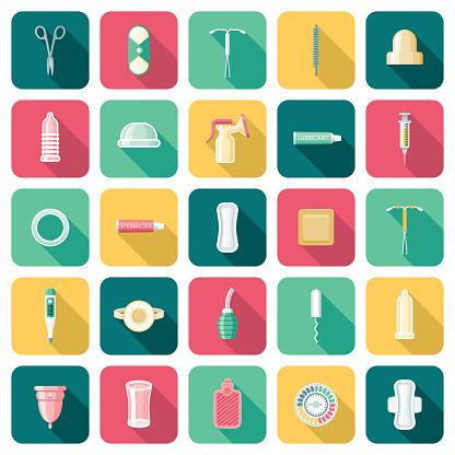 Female Reproductive Health Icon Set