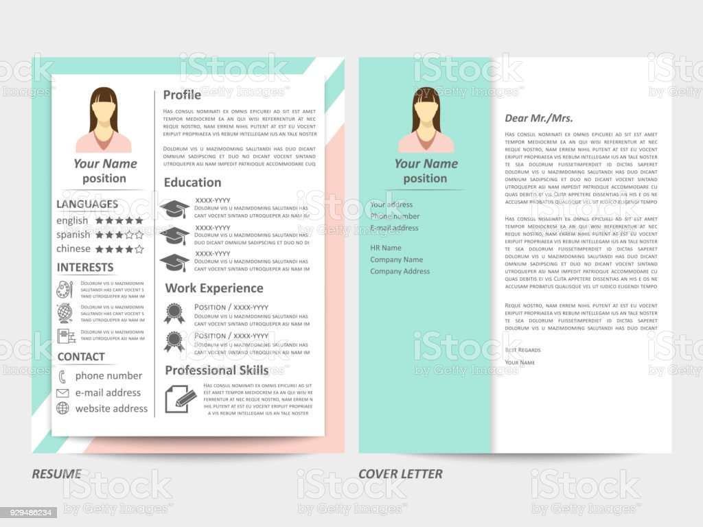 Female Resume And Cover Letter Template Stock Vector Art & More ...