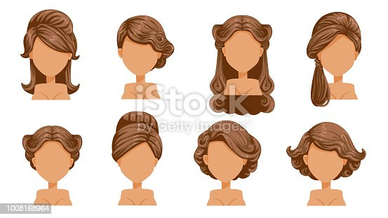 Female retro hair.  Vintage Hairstyles of women. Hair curling, finely curled hair. Old-fashioned. The classic and trendy. salon hairstyles for haircut. vector icon set isolated on white background.