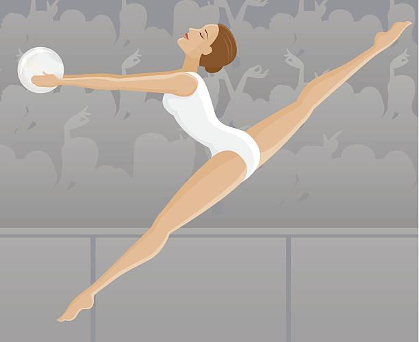 weibliche rhythmische sportgymnastin - spagat stock-grafiken, -clipart, -cartoons und -symbole