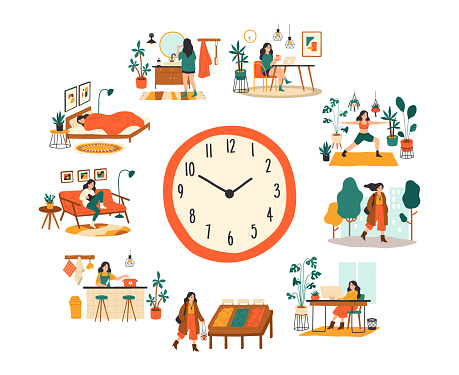 Female routine. Lifestyle activities temporal distribution, young woman daily schedule, life scenes around big clock face. Young woman sleep work and shopping vector cartoon concept