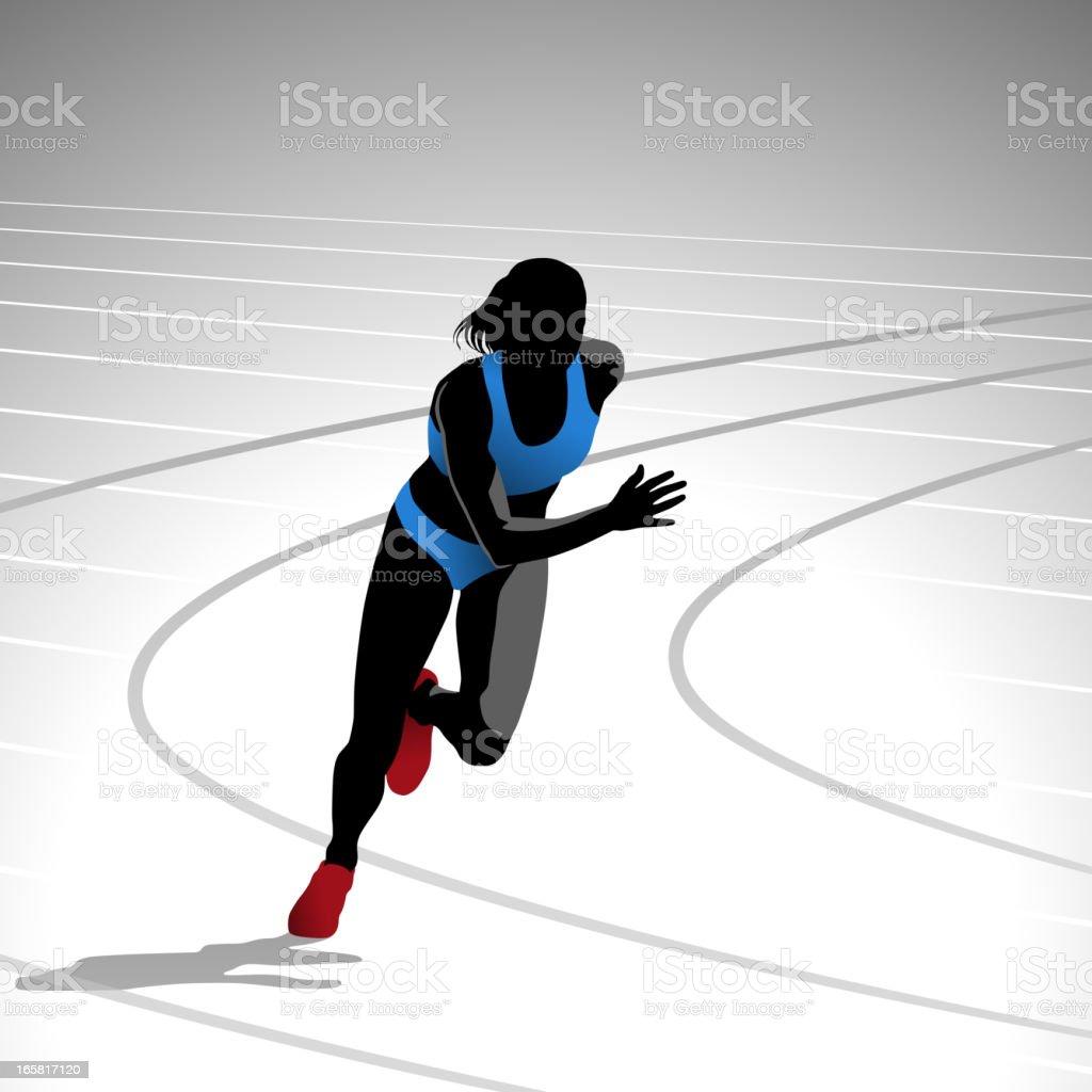 Female Runner Sprinting vector art illustration