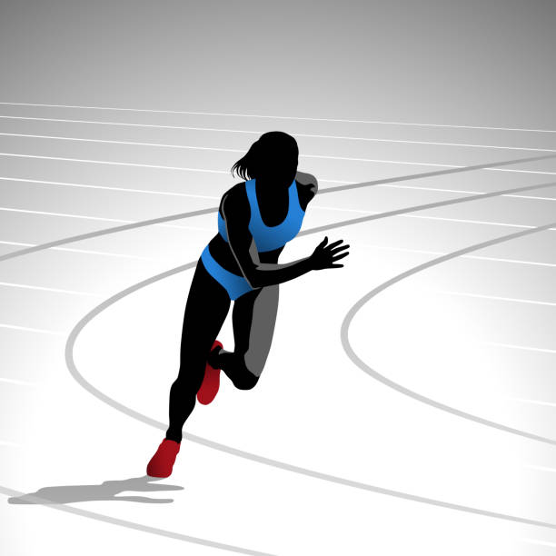 Female Runner Sprinting vector art illustration