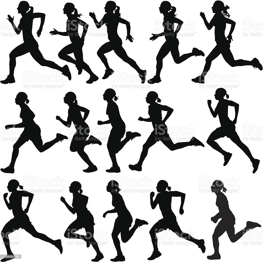 Female runners in silhouette vector art illustration