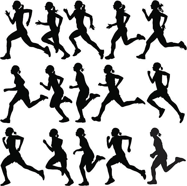 female runners in silhouette - running stock illustrations