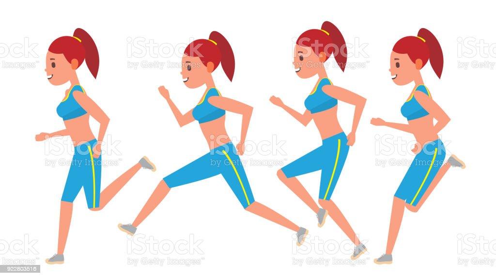 Female Running Vector Animation Frames Set Sport Athlete Fitness ...
