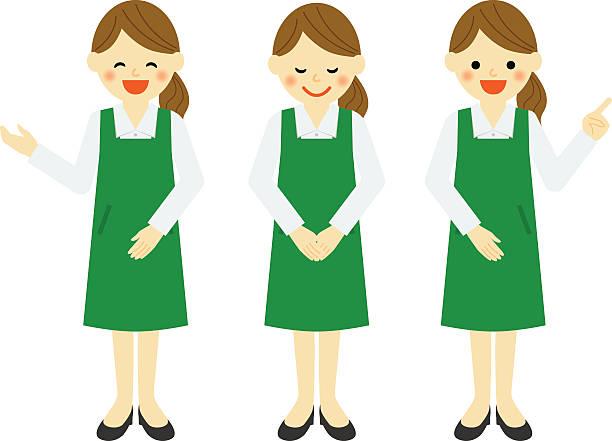 雌 salesclerk のエプロン - お礼点のイラスト素材/クリップアート素材/マンガ素材/アイコン素材