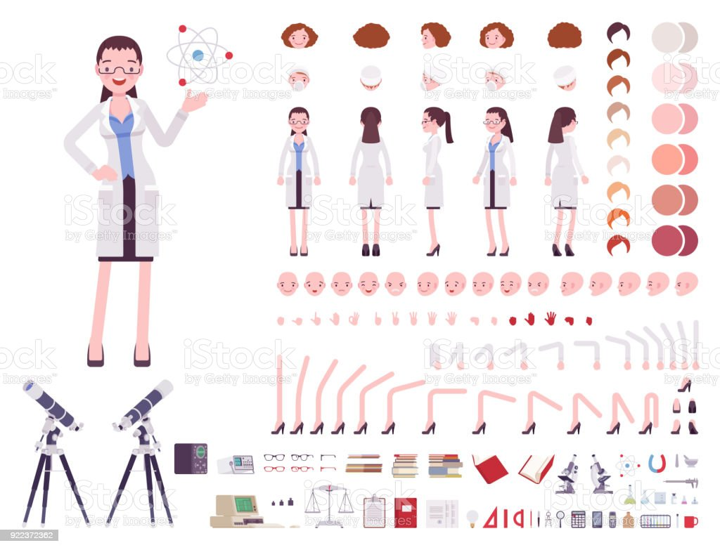 Female scientist character creation set vector art illustration