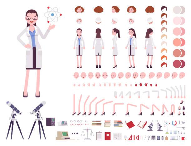 ilustrações de stock, clip art, desenhos animados e ícones de female scientist character creation set - scientist