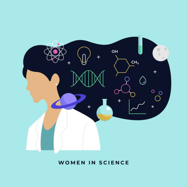 ilustrações de stock, clip art, desenhos animados e ícones de female scientist head with long hair thinking about complex science knowledge vector illustration. international day of women and girls in science poster background. - scientist