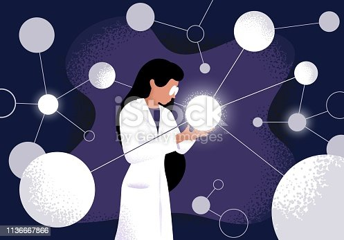 Female scientist in lab coat checking artificial neurons connected into neural network. Computational neuroscience, machine learning, scientific research. Vector illustration in flat cartoon style