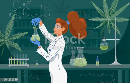 istock Female scientist in labcoat wearing nitrile gloves, doing experiments in lab. Cannabis oil in a laboratory. Medical research cbd and thc. Chemistry concept. Vector background 1204272735